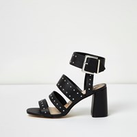 River Island Womens Black Rocker Stud Block Heel Sandals