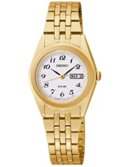 Seiko Women's Solar Gold Tone Stainless Steel Bracelet Watch 25Mm Sut118