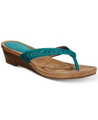 Styleandco. Style Co Haloe Wedge Sandals Created For Macy's Women's Shoes Teal Perforated