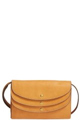 Frye Women's Adeline Leather Crossbody Wallet Brown Tan
