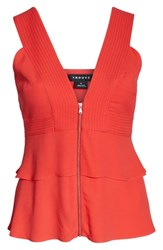 Trouve Trapunto Zip Front Sleeveless Top Red Cayenne