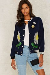 Floral Arrangement Sequin Bomber Jacket Blue