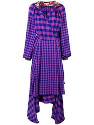 Natasha Zinko Checked Apron Wrap Dress Blue