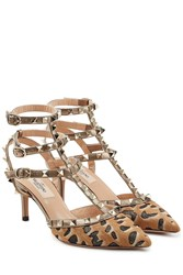 Valentino Rockstud Leather And Pony Hair Kitten Heel Pumps Animal Prints
