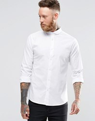 Noose And Monkey Skinny Shirt With Curve Collar With Stretch White