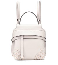 Tod's Wave Mini Leather Backpack White