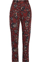 Etoile Isabel Marant Janelle Printed Cotton Tapered Pants Burgundy