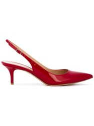 Gianvito Rossi Jackie Kitten Heel Pumps Women Leather Patent Leather 35.5 Red
