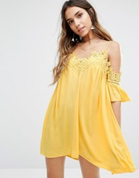 Kiss The Sky Cold Shoulder Cami Swing Dress With Lace Trims Yellow