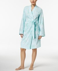 Charter Club Lace Trimmed Printed Cotton Knit Short Wrap Robe Only At Macy's Floral Spray