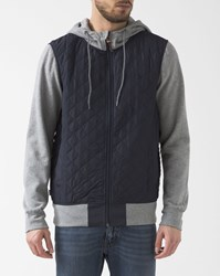 Element Navy Blue And Grey Padded Tadler Zipped Sweater