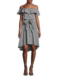 Saks Fifth Avenue Checked Off The Shoulder Dress Black White