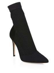 Gianvito Rossi Stretch Mesh And Suede Sock Booties Black