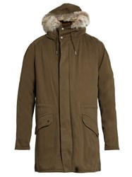 Yves Salomon Fur Lined Cotton Canvas Parka Khaki