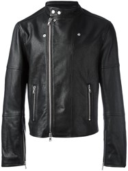 Diesel Black Gold Zip Up Biker Jacket Black