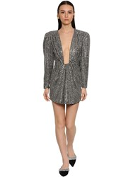 Daniele Carlotta Draped Backless Lurex Mini Dress Silver