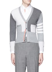 Thom Browne Colourblock Stripe Sleeve Cashmere Cardigan Grey