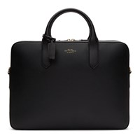 Smythson Black Slim Panama Briefcase