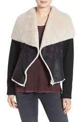 Betsey Johnson Women's Mixed Media Faux Shearling Jacket Black Cream