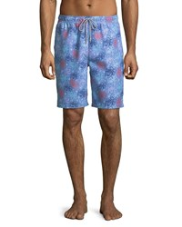 Peter Millar Sea Monsters Swim Trunks Blue Pattern