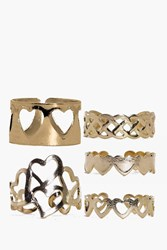 Boohoo Love Heart Adjustable Mixed Ring Pack Gold