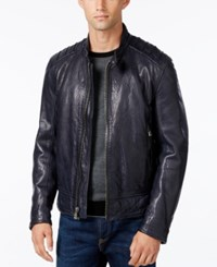 Andrew Marc New York Men's Boarder Evergrain Leather Moto Jacket Ink