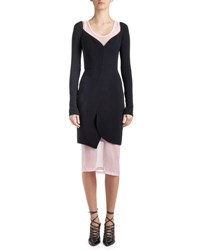 Givenchy Long Sleeve Cady Sweetheart Dress Black