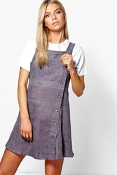 Boohoo Ribbed Mini Pinafore Dress Grey
