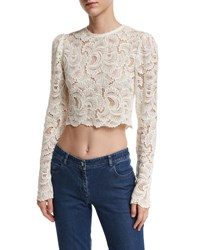 A.L.C. Talia Long Sleeve Cropped Sheer Lace Top White