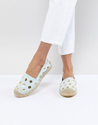 Selected Femme Suede Espadrille With Metallic Print Green