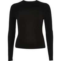 River Island Womens Black Ribbed Turtle Neck Top