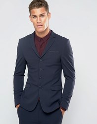 Asos Super Skinny Four Button Suit Jacket In Navy Navy
