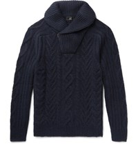 Dunhill Shawl Collar Cable Knit Cashmere Half Zip Sweater Navy