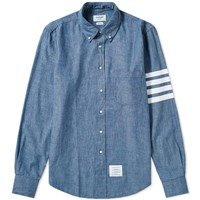 Thom Browne 4 Bar Button Down Chambray Shirt Blue