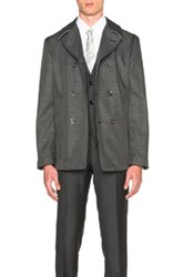 Thom Browne Taped Seam Peacoat In Gray Checkered And Plaid