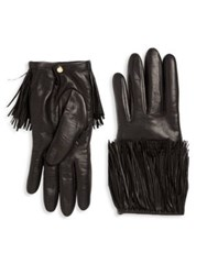 Portolano Fringed Leather Gloves Black