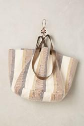 Anthropologie Summer Stripes Tote Ivory