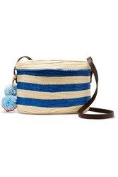 Sophie Anderson Ana Leather Trimmed Striped Woven Raffia Shoulder Bag Blue