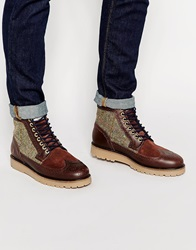 Fred Perry Northgate Leather And Harris Tweed Brogue Boots Brown