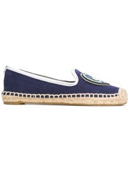 Tory Burch Parrot Patch Espadrilles Women Cotton Leather Straw Rubber 37.5 Blue