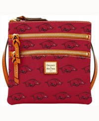 Dooney And Bourke Arkansas Razorbacks Triple Zip Crossbody Bag Red