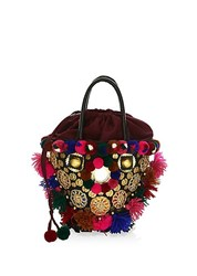 Figue Frida Mini Tuk Tuk Embellished Top Handle Bag Black Multi