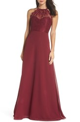 Hayley Paige Occasions Lace Halter Overlay Chiffon Gown Burgundy