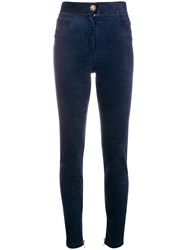 Balmain High Waist Skinny Trousers Blue