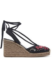 Marc Jacobs Nathalie Embellished Appliqued Canvas Wedge Espadrilles Black
