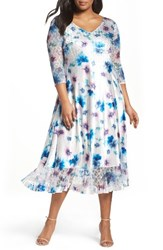 Komarov Plus Size Women's Floral Charmeuse And Chiffon A Line Dress