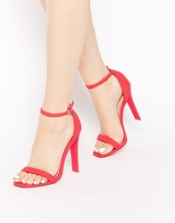 Asos Harness Heeled Sandals Red