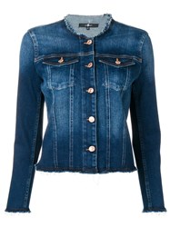 7 For All Mankind Round Neck Jacket Blue