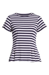 Love Fire Stripe Peplum Tee Navy White Stripe