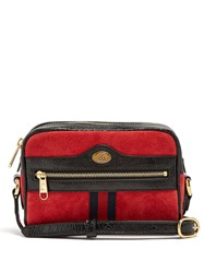 Gucci Ophidia Mini Suede Cross Body Bag Red